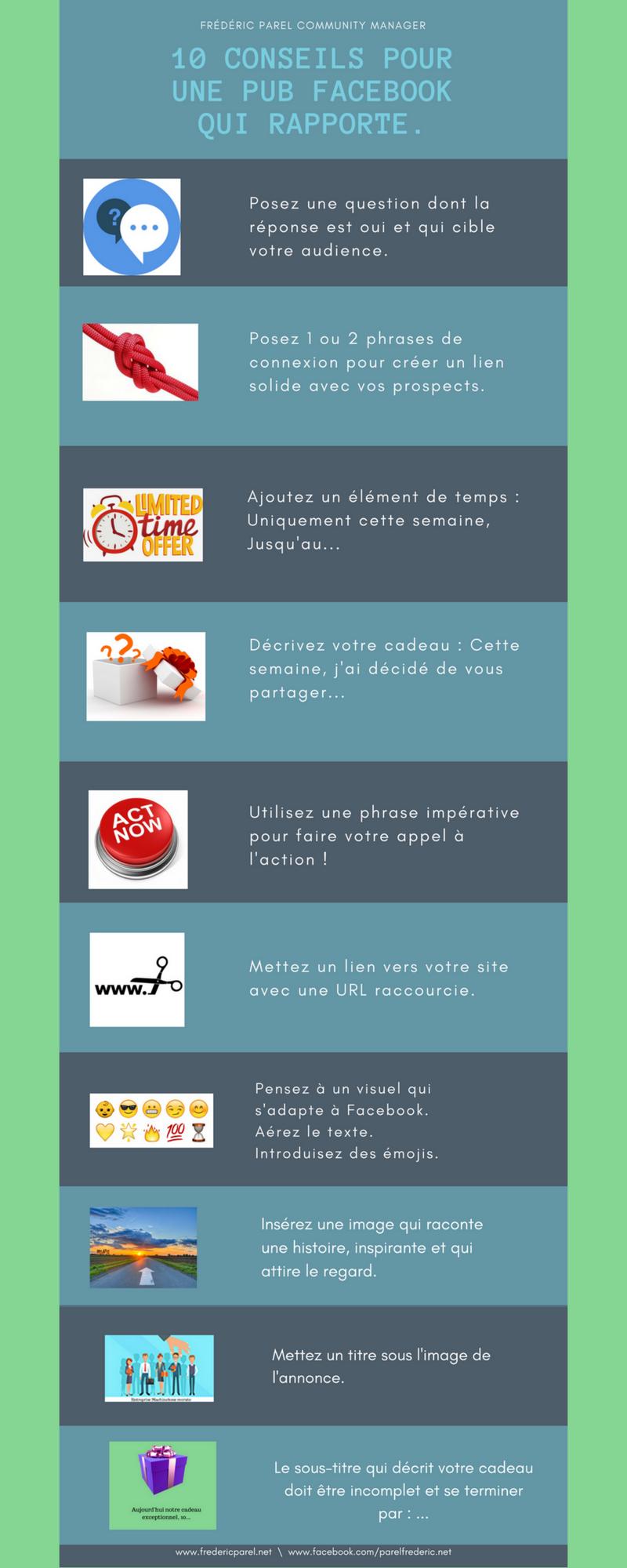 Infographie - 10 conseils pour une pub facebook